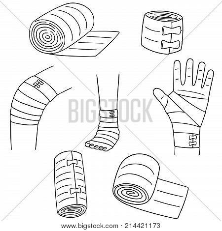 vector set of medical bandage hand drawn cartoon