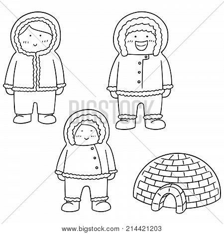 vector set of eskimo hand drawn cartoon