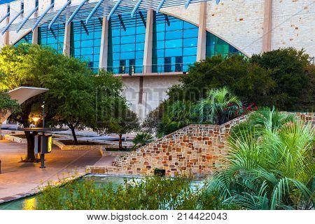 SAN ANTONIO, TEXAS - NOVEMBER 10, 2017:  The Henry B. González Convention Center is the City of San Antonio's convention center located in Downtown San Antonio, Texas, along the banks of the River Walk