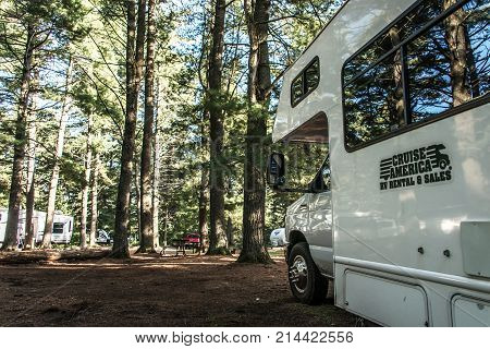 Canada Ontario Algonquin National Park 30.09.2017 - Parked RV camper car at Lake of two rivers Campground Beautiful natural forest landscape