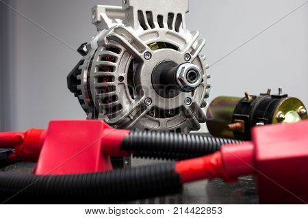 Car alternator and cables/ Auto parts/close up view of car alternator and cables