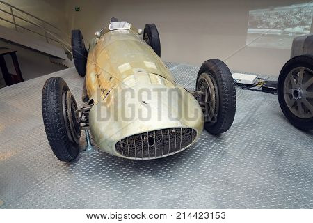 Prague, Czech Republic - November 10: Filtered Photo Of Mercedes-benz W154 Grand Prix Racing Car Des