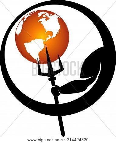 Global trident shield Logo Design Template Vector Isolated