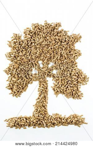 tree made of pellets for heating and heat