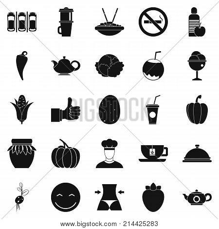 Vegetarian restaurant icons set. Simple set of 25 vegetarian restaurant vector icons for web isolated on white background
