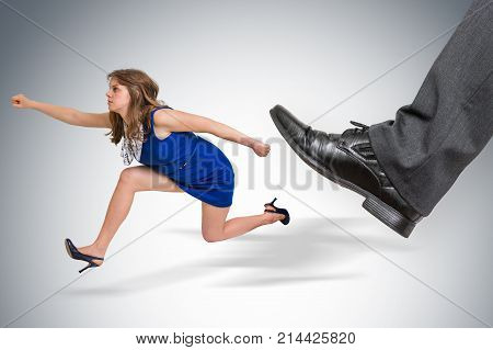 Small Business Woman Running Away From A Boss Pressure