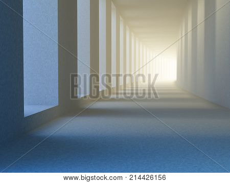 Concept of future. The covered gallery or portico, sunlight penetrates between columns and behind turn becomes bright blur of light, as a symbol of the future, progress, success. 3D illustration.