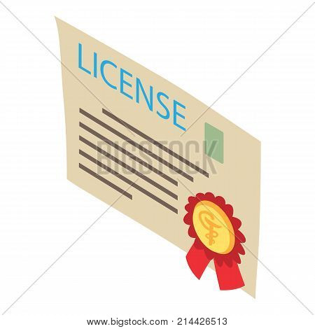 License icon. Isometric illustration of license vector icon for web