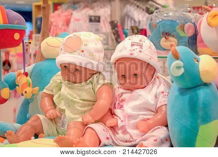 BANGKOK THAILAND - OCTOBER 29: Baby section in The Mall Bangkhae displays baby products for sale by dressing up baby dolls on October 29 2017 in Bangkok.