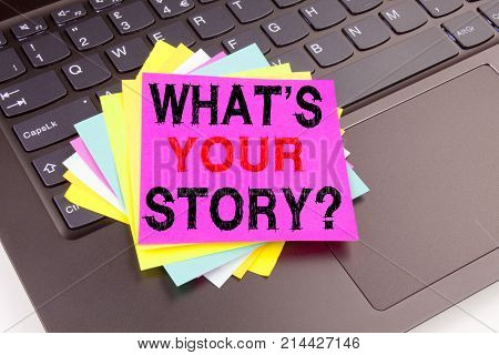 Writing Question What Is Your Story Text Made In Office Close-up On Laptop Computer Keyboard. Busine