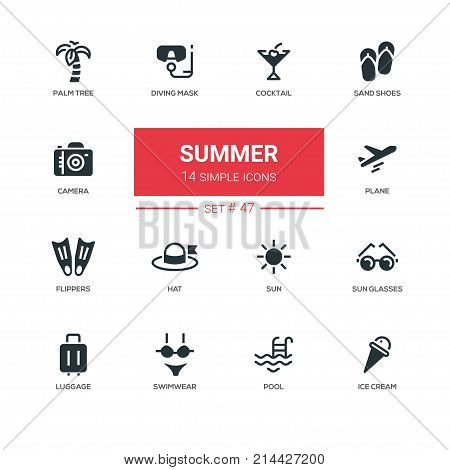 Summer concept - line design icons set. Things, connected with hot season. Coctail, sand shoes, palm tree, diving mask, camera, plane, flippers, hat, sun glasses, luggage, swimwear, pool, ice cream