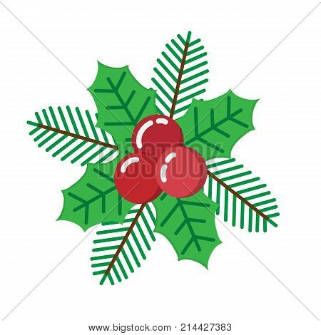 European Christmas Berry Holly Ilex Aquifolium Leaves.vector Decorative Holly Christmas Berry Leaf T