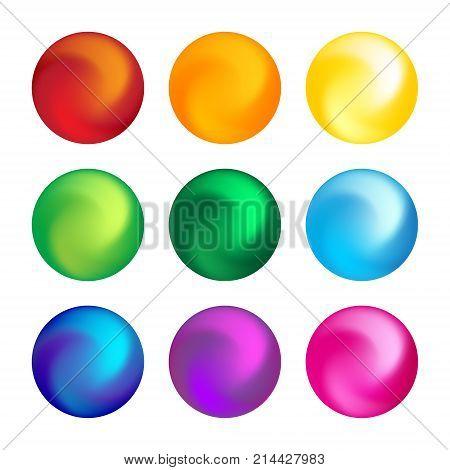 Rainbow color ball threedimensional set design element. Vector illustration.
