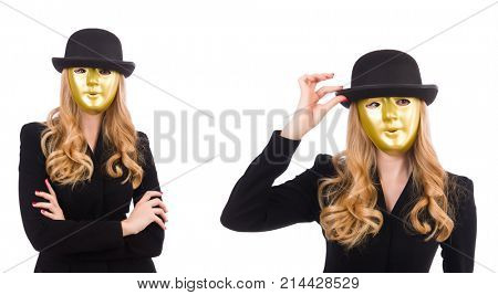 Businesswoman in mask isolated on white