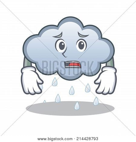Afraid rain cloud character cartoon vector illustration