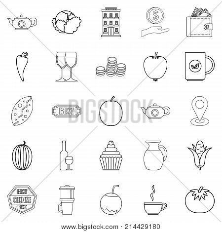 Continental breakfast icons set. Outline set of 25 continental breakfast vector icons for web isolated on white background