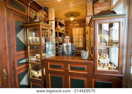 Kolomna Russia - October 22 2017: Kolomna Kalach. Seller Woman In Museum Shop Kalach Resurgent Old Urban Kalach Trade.