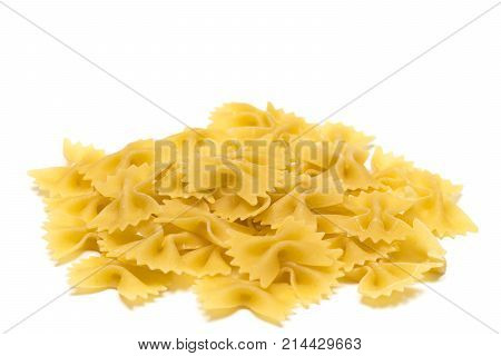 Heap Of  Bow Tie Pasta Isolated On White Background