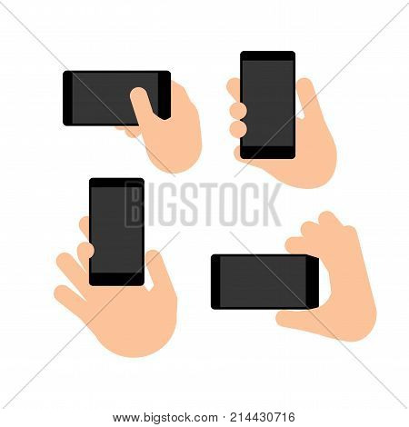 Hand holds a smart phone in vertical and horizontal position. Set Application Template illustration of a smartphone. Vector icons emblem. Flat style
