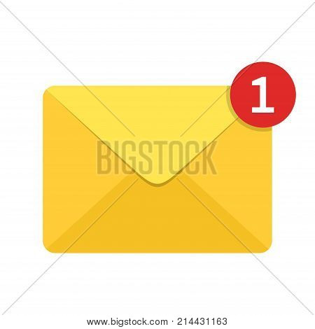 Envelope letter with counter notification isolated on white background. Mail icon. concept of incoming email message, mail delivery service for social network, web or mobile app. Vector illustration
