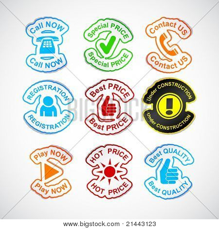 Color set of 9 vector stickers.