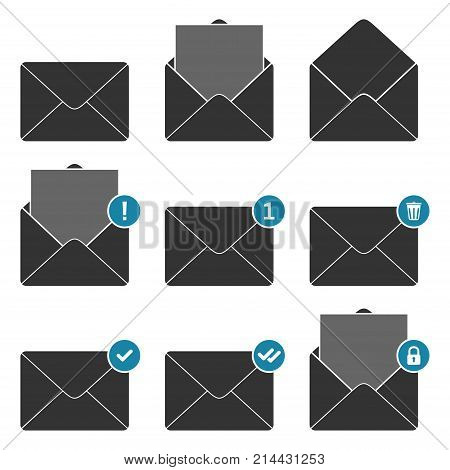 Mail envelope notifications icons set. Concept of incoming email messages, communication, mail delivery service for social network, web or mobile app. Vector illustration