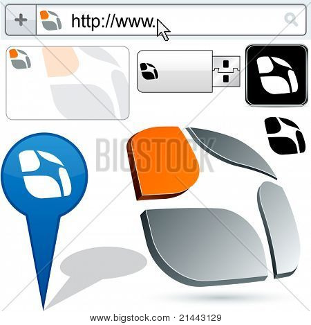 Business harmony vector abstract signs represented in different usages.