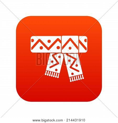Knitted scarf with pattern icon digital red for any design isolated on white vector illustration