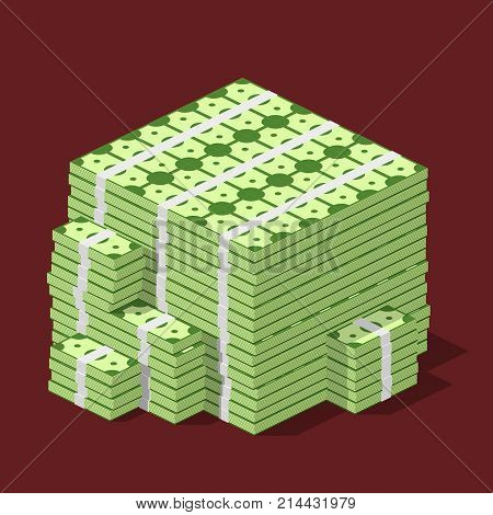 Big stacked pile of cash. Hundreds of dollars in flat style isometric. Huge stacked pile of hundred us dollar cash. Big money concept. Vector illustration