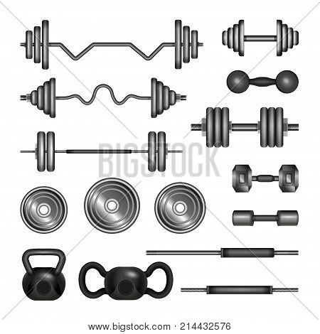 Set of gym equipment - modern vector realistic isolated clip art isolated on white background. 3D barbells, power lifter, hand weights. Fitness, sport, power, healthy lifestyle concept