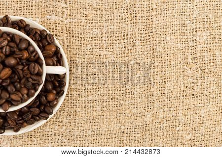 Half Of Coffee Cup With Jute Copyspace