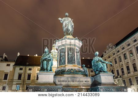 Night View Of Monument To Emperor Franz I Of Austria In The Innerer Burghof In Vienna, Austria