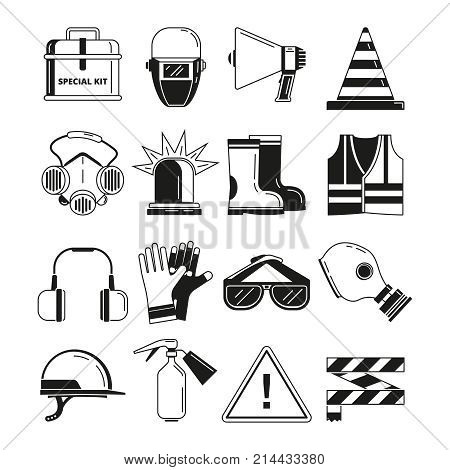 Safety work, security symbols. Vector monochrome illustrations. Safety protection sign and mask respirator, helmet and glasses protect