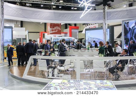 St. Petersburg, Russia - 3 October, People in the cafe on the forum, 3 October, 2017. Participants and visitors of the annual St. Petersburg Gas Forum.