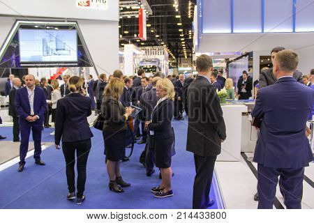 St. Petersburg, Russia - 3 October, A large crowd of business people at the gas forum, 3 October, 2017. Participants and visitors of the annual St. Petersburg Gas Forum.