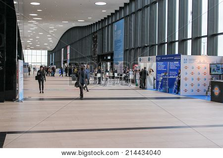 St. Petersburg, Russia - 3 October, Visitors in the hall of the Expo forum, 3 October, 2017. Expo Forum venue of the St. Petersburg Gas Forum.