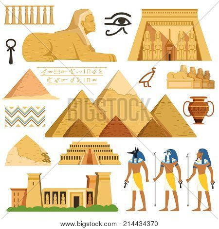 Pyramid of egypt. History landmarks. Cultural objects and symbols of egyptians. Egyptian landmark pyramid architecture, vector illustration