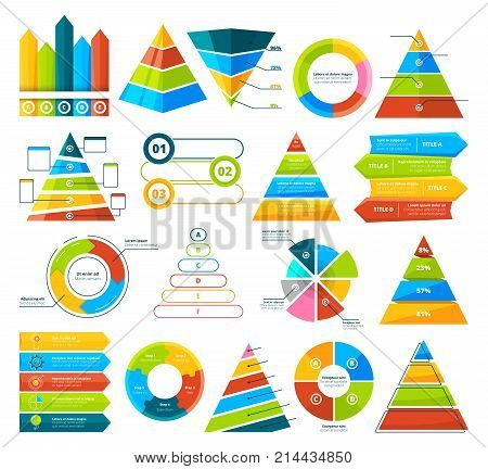 Big vector collection of infographic elements. Pie charts, graphs, diagram and triangles. Pyramid triangle and diagram chart, infograph circular progress illustration