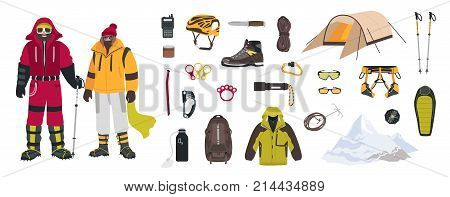 Bundle of mountaineering and touristic equipment, tools for mountain climbing, clothing, male and female mountaineers or climbers isolated on white background. Colorful cartoon vector illustration