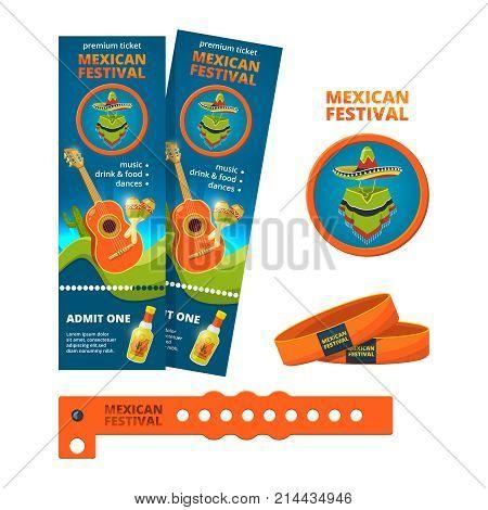 Design template for ticket and entrance bracelet of concert or festive party. Ticket to concert event, bracelet for mexican musical festival, vector illustration
