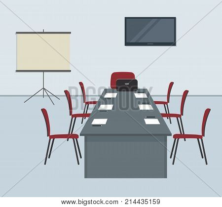 Conference hall in gray color. The office room is prepared for the meeting. There is a screen, a desk and red chairs in the image. On the table is laptop, paper for notes and pencils. Vector