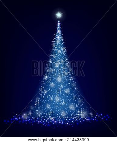 Christmas blue tree on a black background with lots of brilliance