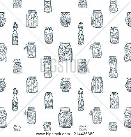 Monochrome seamless pattern with pickled vegetables in glass jars and bottles hand drawn with black contour lines on white background. Vector illustration for wallpaper, backdrop, textile print