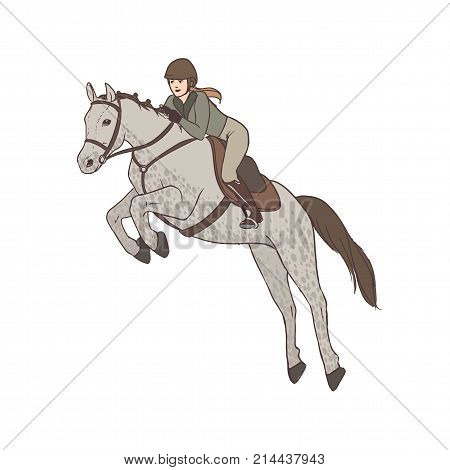 Beautiful woman wearing breeches, jacket and helmet riding horse. Professional female horseback rider, equestrienne. Cartoon character isolated on white background. Colorful vector illustration