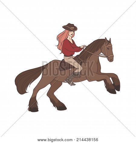 Long-haired woman wearing cowboy hat and boots riding wild mustang horse. Cowgirl, horseback rider, equestrienne. Hand drawn cartoon character isolated on white background. Vector illustration