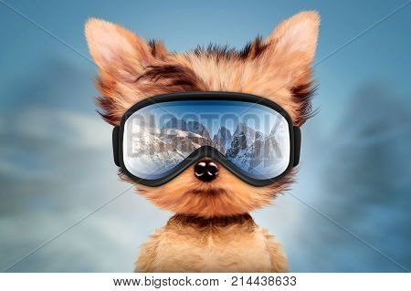 Funny Dog wearing ski goggles. Winter glass mask with reflection of mountains. New Year and Christmas concept. Realistic 3D illustration.