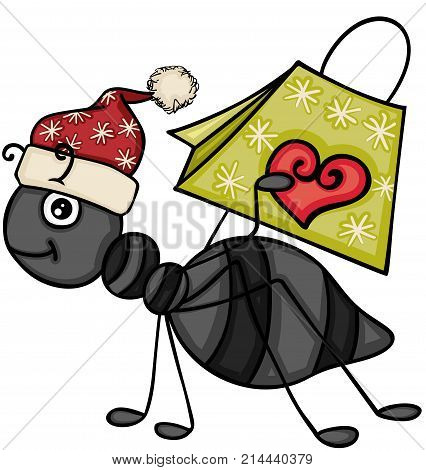 Scalable vectorial image representing a Christmas ant carrying a gift bag, isolated on white.