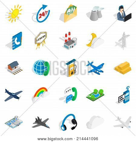 Aircraft icons set. Isometric set of 25 aircraft vector icons for web isolated on white background