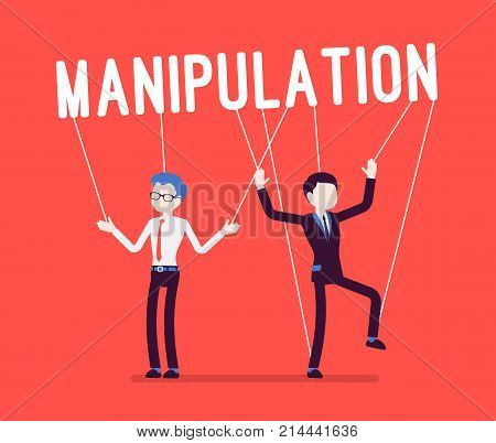 String manipulation puppet people on red. Male characters controlled like dolls by boss, victims of manager, depending on above power. Business style vector concept illustration