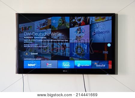 MONTREAL CANADA - NOVEMBER 15 2017: Deutsche Welle app and logo on LG TV screen. Deutsche Welle or DW is Germany's public international broadcaster. The service is available in 30 languages